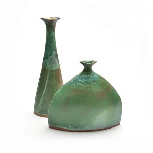 green ceramic bud vases, hand built clay vase, small clay room decor, mangum pottery, weaverville potters