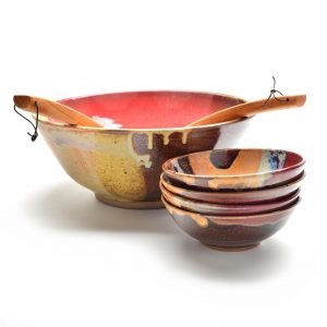 red and brown serving bowl