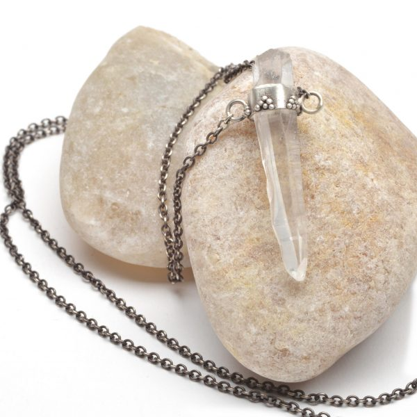 clear crystal necklace, handmade crystal necklace, clear crystal on silver chain