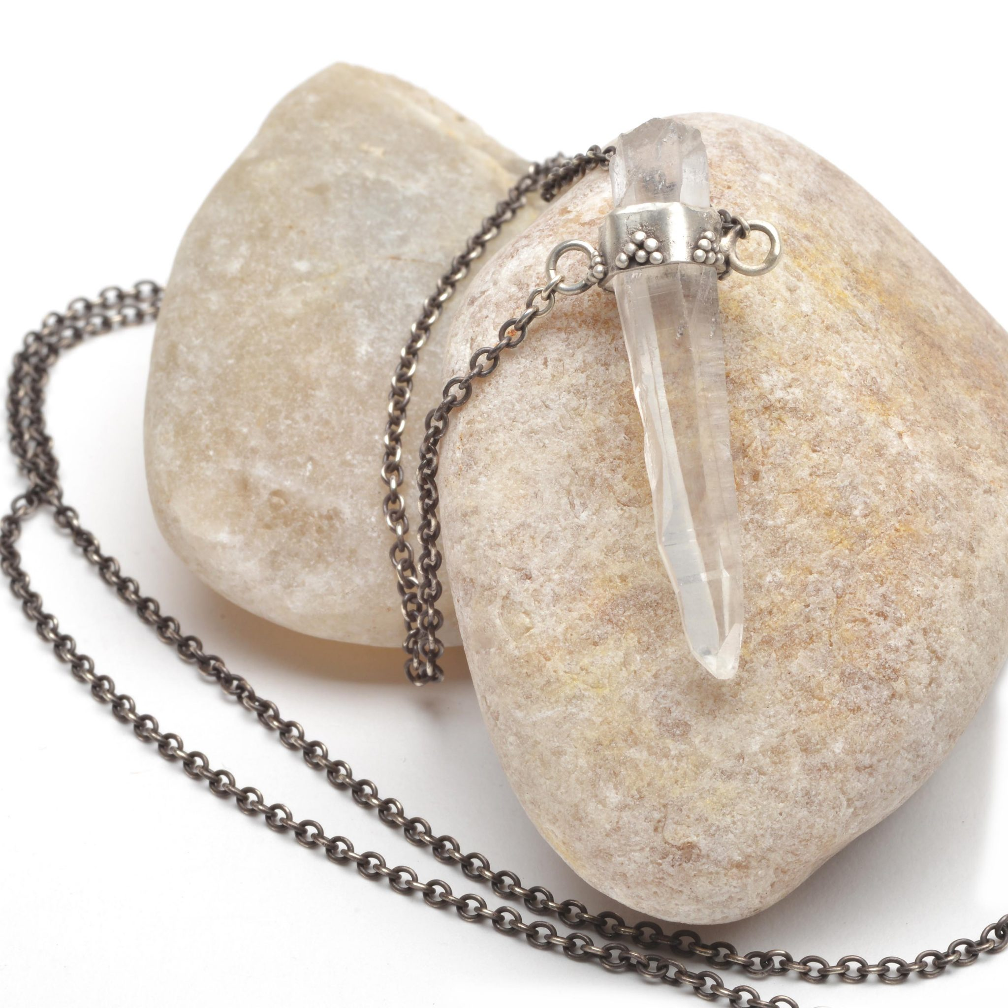 Clear Quartz and Spoon Necklace