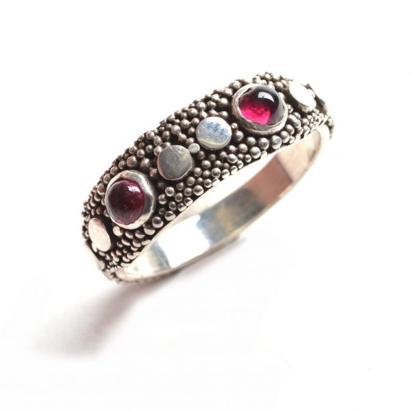 granulated sterling silver rings with different small gemstones, silver granulation, folk art center, asheville wedding jewelry