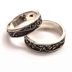 granulated oxidized silver wedding bands, magical wedding bands, asheville jeweler