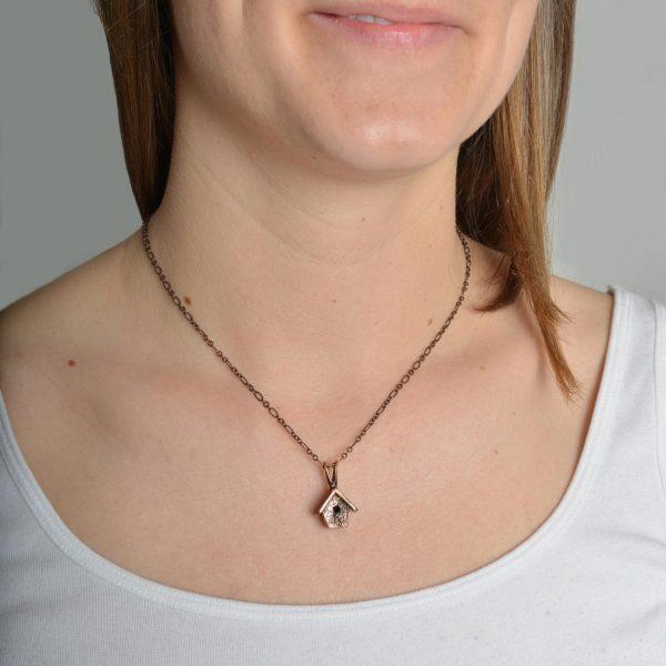 large copper handmade birdhouse necklace, nc nature jewelery, birdwatcher gift