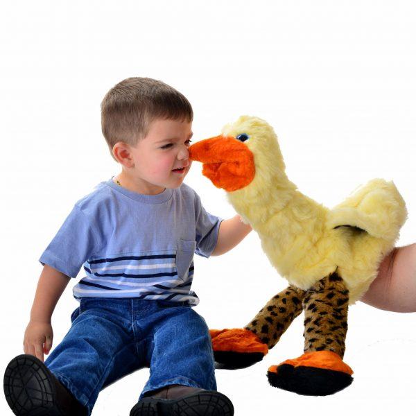 fun whimsical bird puppet, large bird puppet
