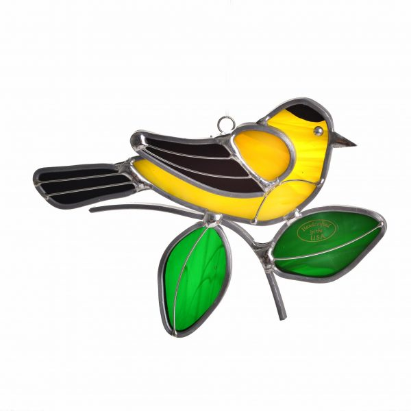 yellow goldfinch suncatcher with green leaves, bird watcher gift, cheap handmade gift, folk art center,