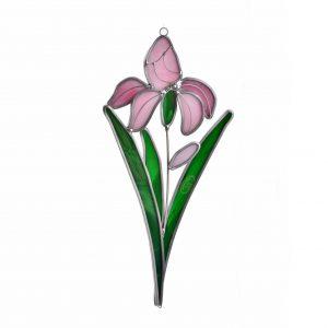 pink iris handmade sun catcher