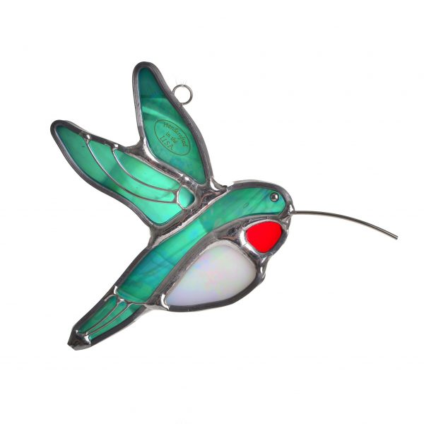 glass hummingbird stained glass sun catcher with green red and white