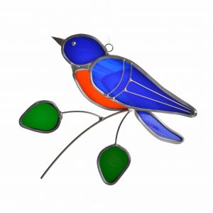 bluebird stained glass bird with green leaves, north carolina bird, nc bird