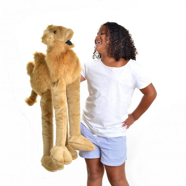 large long tan handmade camel puppet