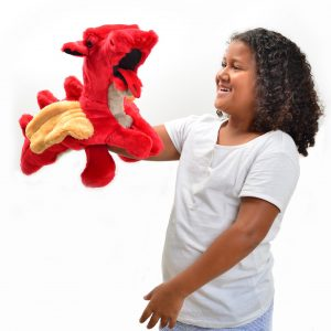 handmade soft red dragon puppet with wings, lucy's toys