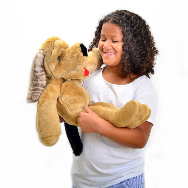soft plush light brown dog puppet, unique gifts for toddlers