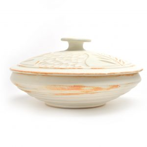 wheel thrown handmade carved white shallow casserole
