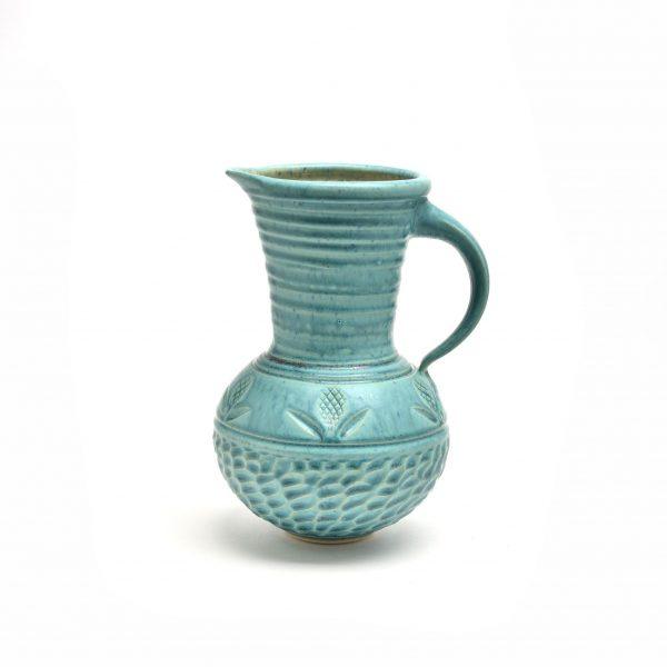 wheel thrown handmade turquoise pitcher