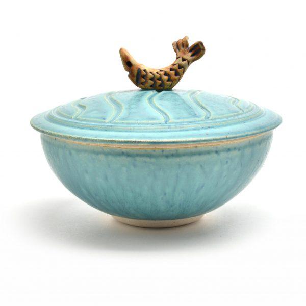 fish bowl, lidded jar bowl, sc pottery,