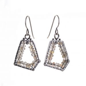 oxidized sterling silver pentagon earrings with labradorite inside