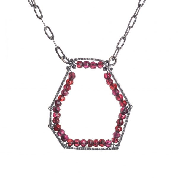 oxidized silver hexagon and garnet necklace, handmade garnet and silver necklace