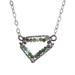 sterling silver and green chrysoprase handmade necklace
