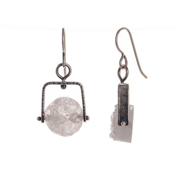 white and silver earrings, handmade moonstone earrings, artful home jewelry, folk art center gemstone