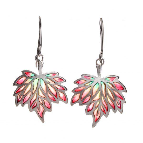 maple leaf earrings, stained glass maple leaf earrings