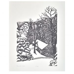 black and white block print of winter scene in woods