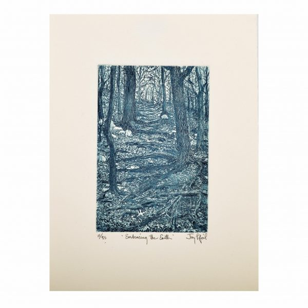 handmade blue forest print etching