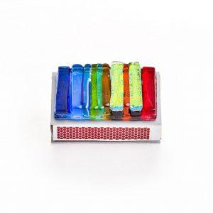 handmade glass rainbow glass matchbox cover, handmade judacia