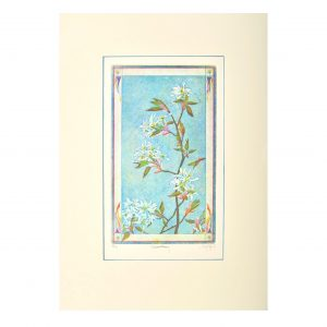 handmade colorful serviceberry etching print