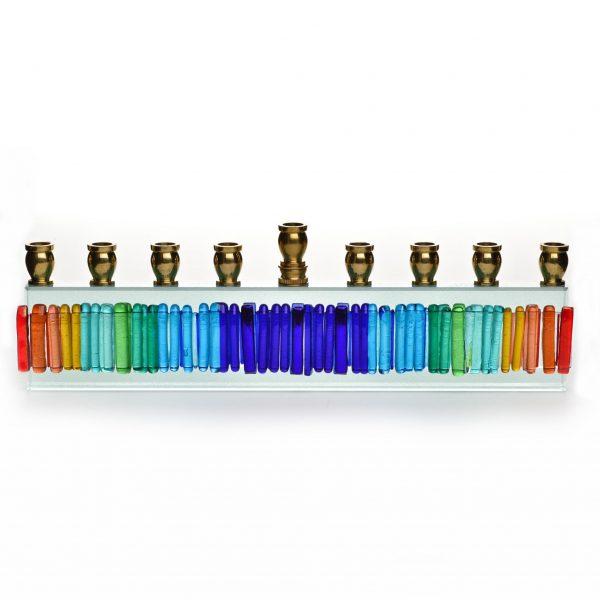 rainbow glass menorah, handmade glass judacia