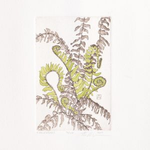 handmade fiddleheads etching with green