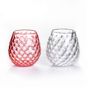 pink and crystal hand blown glass tumbler cups with textured pattern
