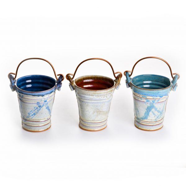 Wheel thrown small pottery bucket with copper hand, clay pail, ceramic wine cooler, red, blue, sage