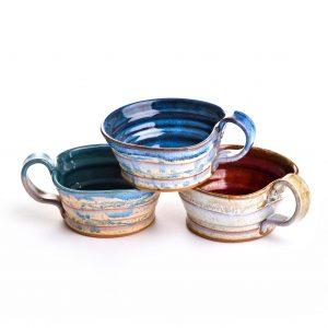 pottery mug, pottery bucket mug, handmade soup mugcoll