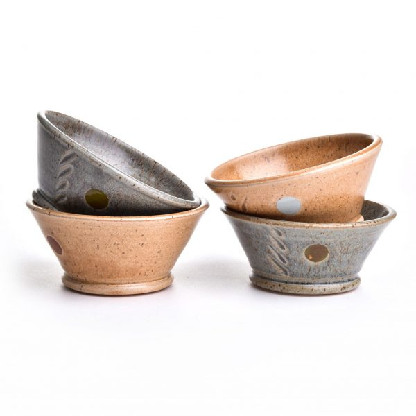 small wheel thrown bowls with dots and stamps by Robin Kirby of NC.