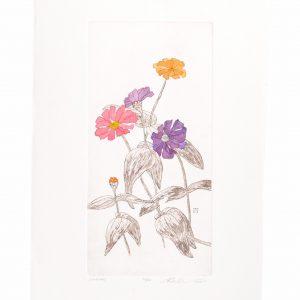 handmade colored etching of zinnias