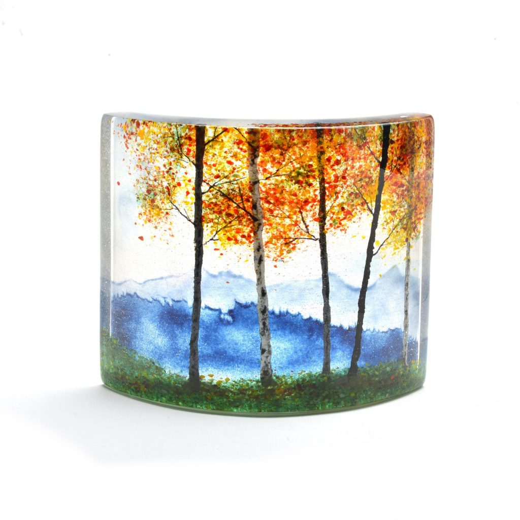 fall landscape in layers of fused glass, fall fine craft, nc craft gallery, asheville nc