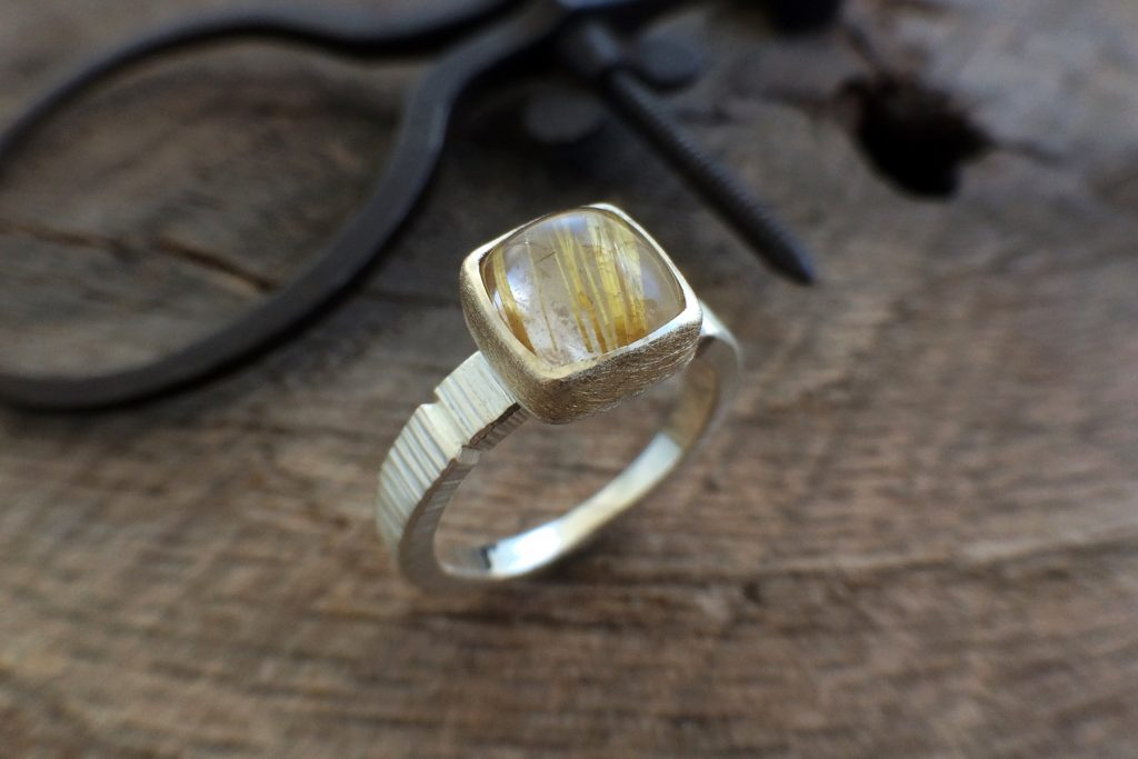 handmade ring with silver and gold with striped stone, handmade in nc, asheville nc craft gallery
