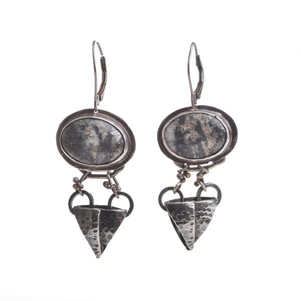 pyrite and sterling silver earrings, large oxidized statement earrings