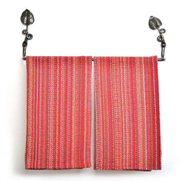 hand forged towel bar for bathrooms with leaf, handmade bathroom hardware