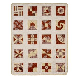 Georgia Bonesteel brown and white sampler quilt with square and