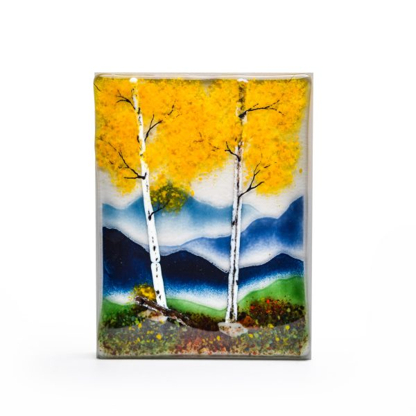 seasonal wall art, glass fusing, nc glass artist, mountain scene of fall trees in the forest
