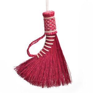 handmade turkey wing handheld broom with braided handle