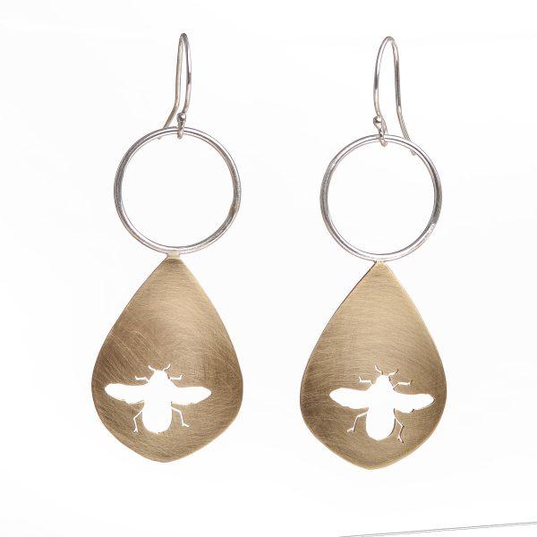 save the bees, bee earrings, handcut bronze earrings