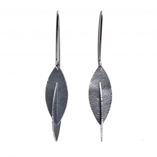 edgy oxidized silver long earrings