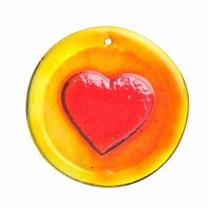round glass heart suncatcher in red