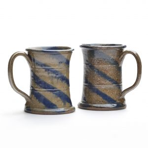 traditional wheel thrown rustic mugs with cobalt blue swirl