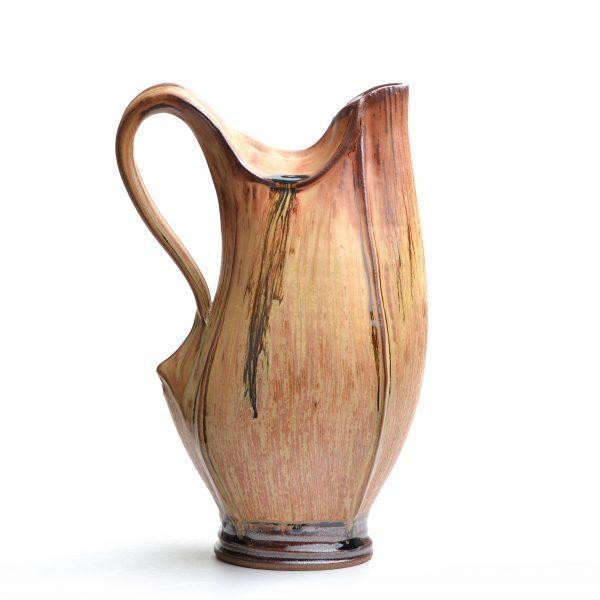 wheel thrown ceramic pitcher, brown handmade pitcher, nc clay, village potters asheville