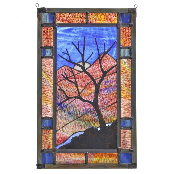 large mountain scene stained glass, mountain home decor, handmade stained glass, colorful window art