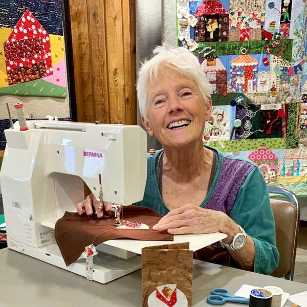 demonstration of sewing by quilter