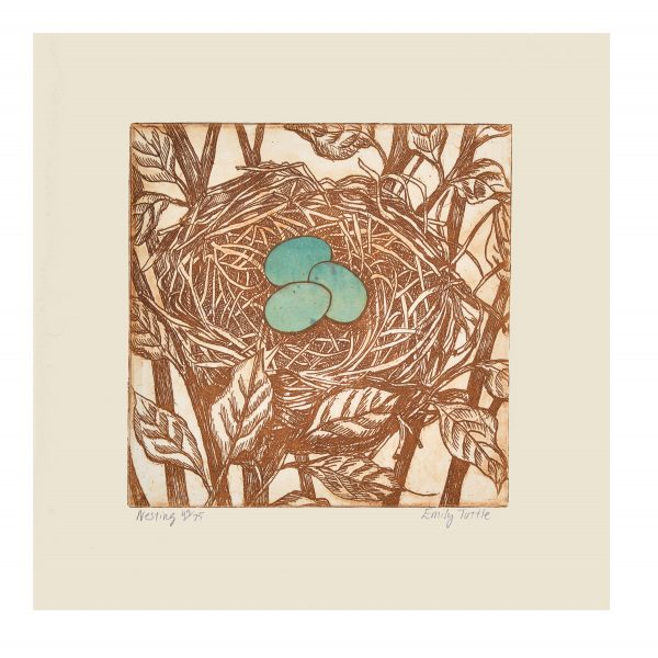 Handmade sepia print of a nest in a tree with 3 blue eggs in the middle