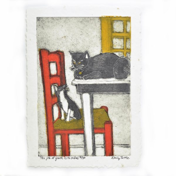 Handmade print of cats in the kitchen on the table and chair, white black red chair